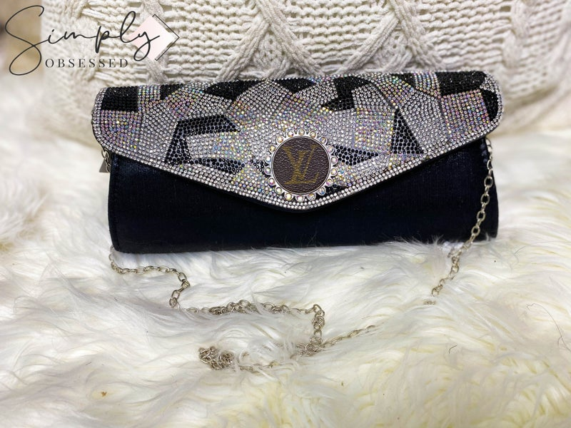 LV Up-Cycled Solid + Bling Snap Crossbody