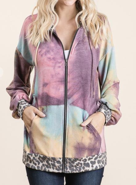 Vanilla Bay - Tie dye leopard print front pocket detail zip up jacket