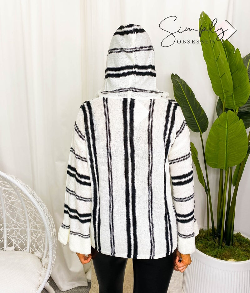 And the Why - Stripe Printed Casual Long Sleeve Lightweight Knit Hoodie with Front Pocket