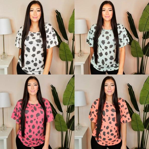 BiBi - Big dalmatian print terry top with tiered sleeves