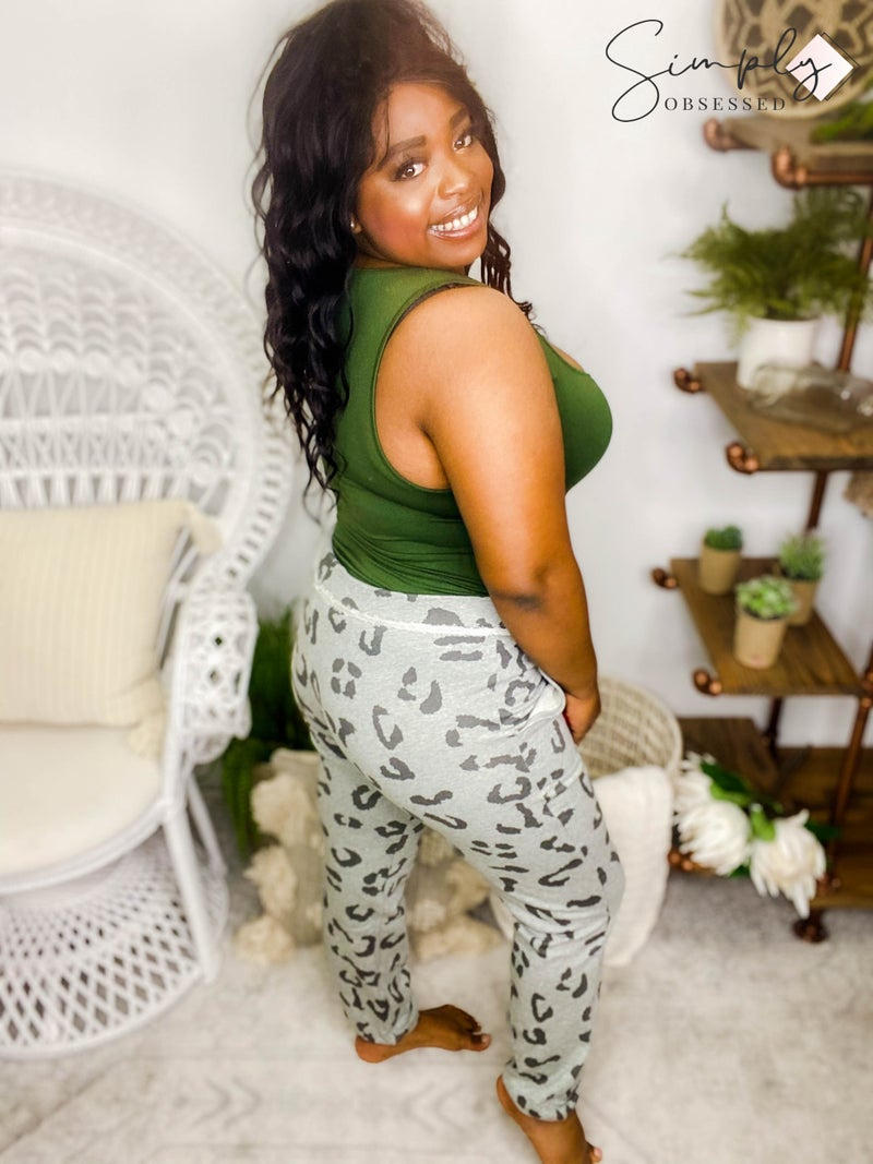 Easel-Animal print terry knit comfy pants with side pockets