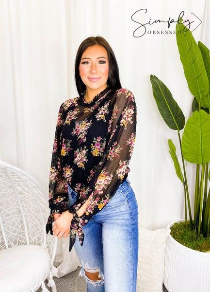 Kye Mi - Floral sheer mock-turtle neck blouse
