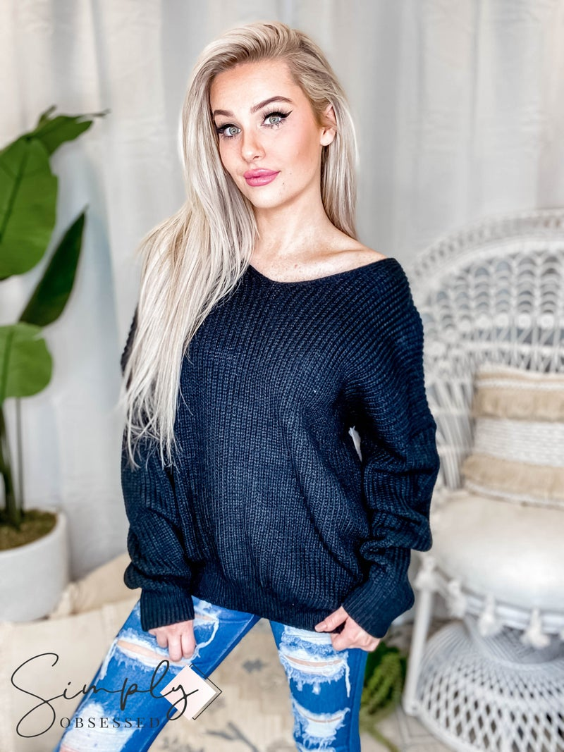 Davi & Dani - Solid V Neck Long Sleeve Sweater