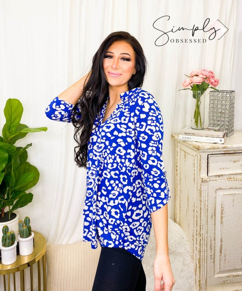 Sew In Love - Long sleeve animal print v-neck blouse