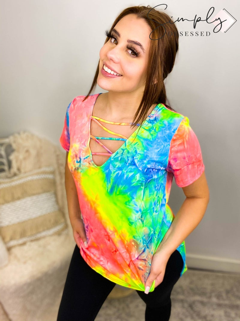 CY Fashion - Tie Dye Short Sleeve With Crisscrossed V-Neckline