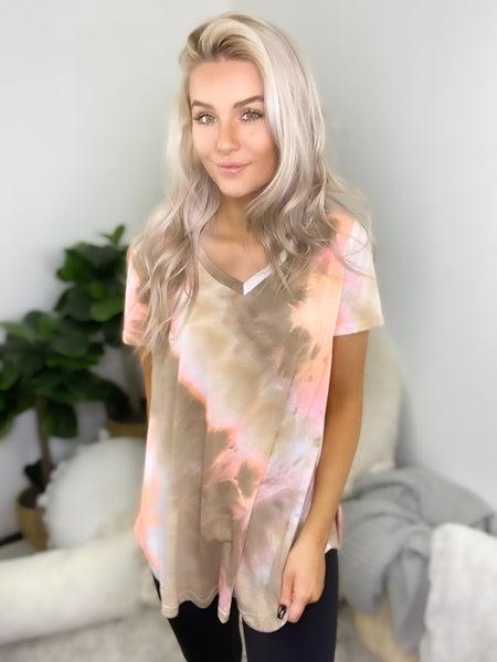 Sew In Love - Short sleeve v-neck tie dye top