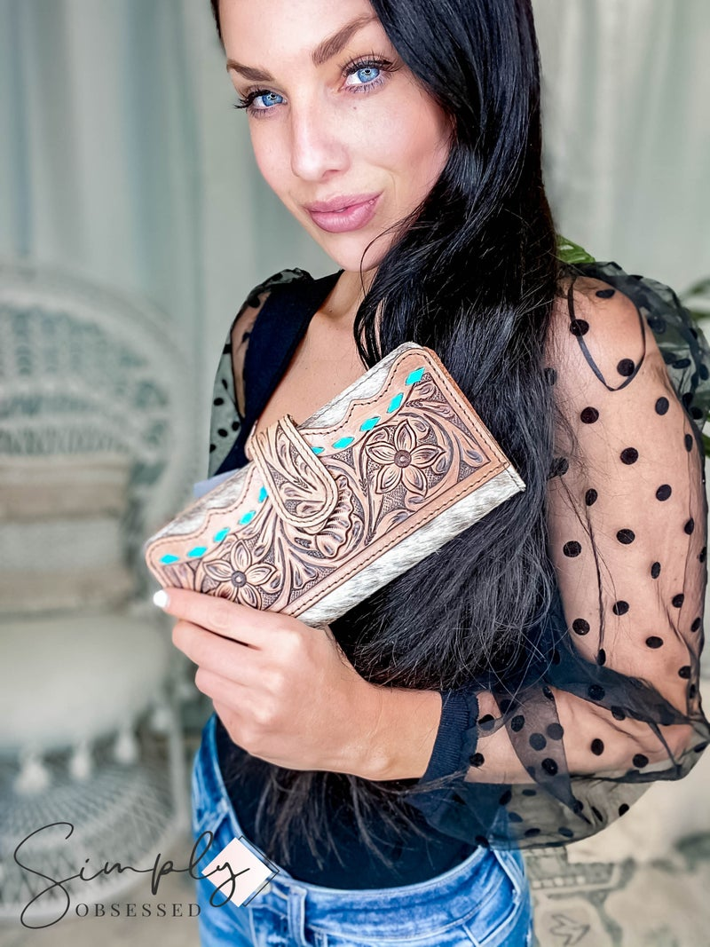 American Darling - Brown w/Turq Tooled  Hair On Wallet