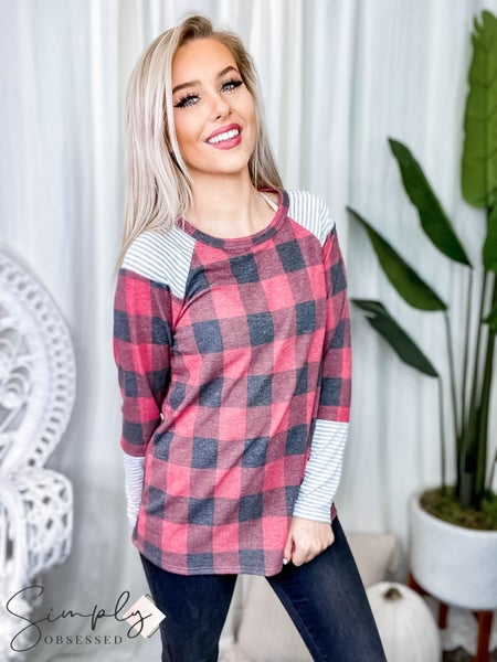Vanilla Bay - Long sleeve plaid top with striped sleeve details