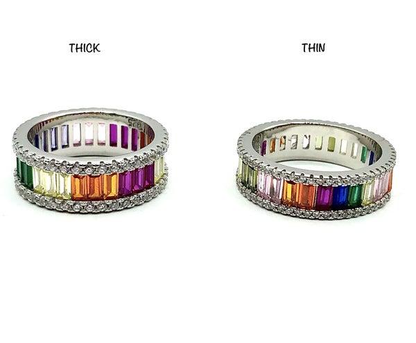 Rainbow Baguette CZ Ring