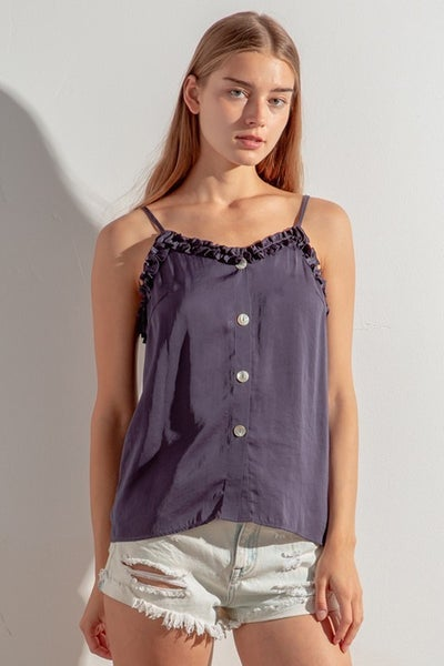 Mittoshop - Frilled button down cami woven top