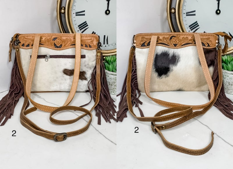 AMERICAN DARLING-MEDIUM COWHIDE PURSE WITH LEATHER WORK AND FRINGE DETAIL