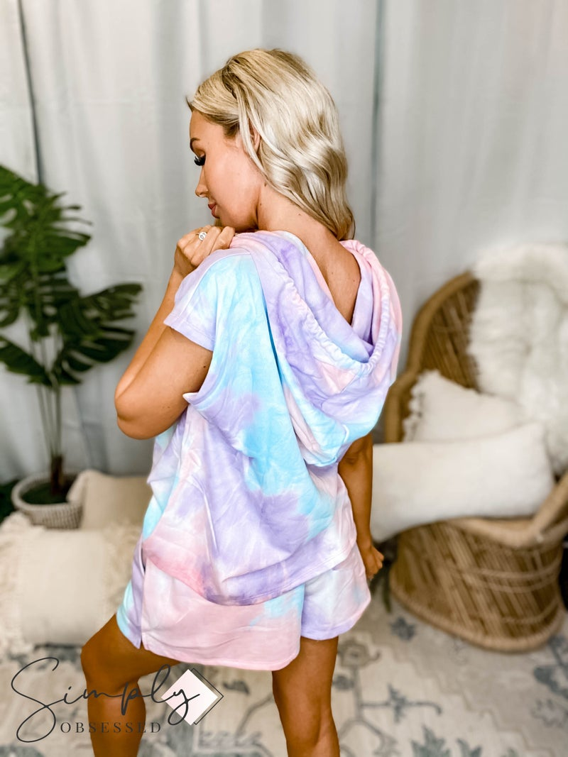 Kori - French Terry Tie Dye Hoodie Top and Drawstring Short Set
