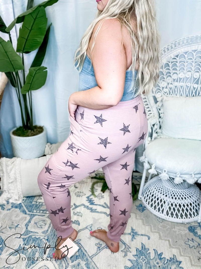 Rae Mode - Star Printed Jogger Pants W/ Drawstrings (All Sizes)
