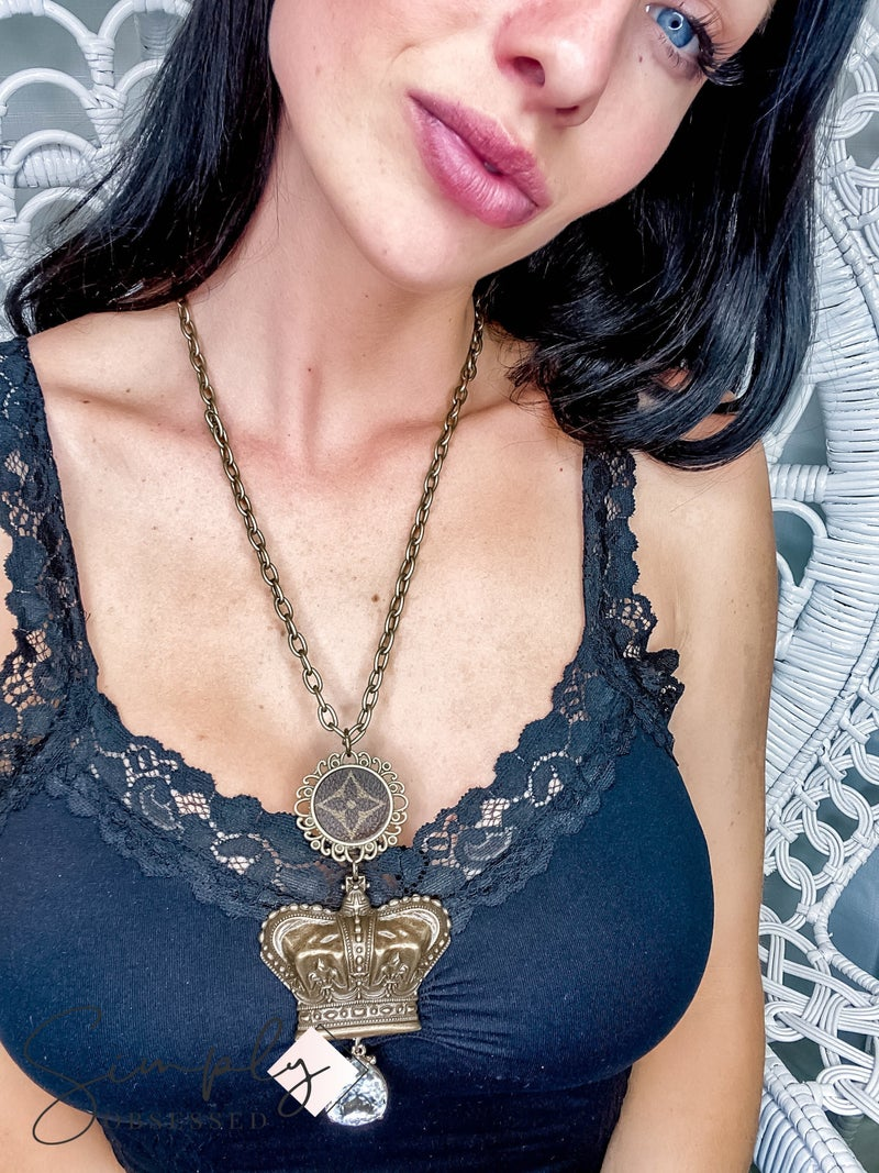 Up Cycled - Antique Bronze Crown Necklaces