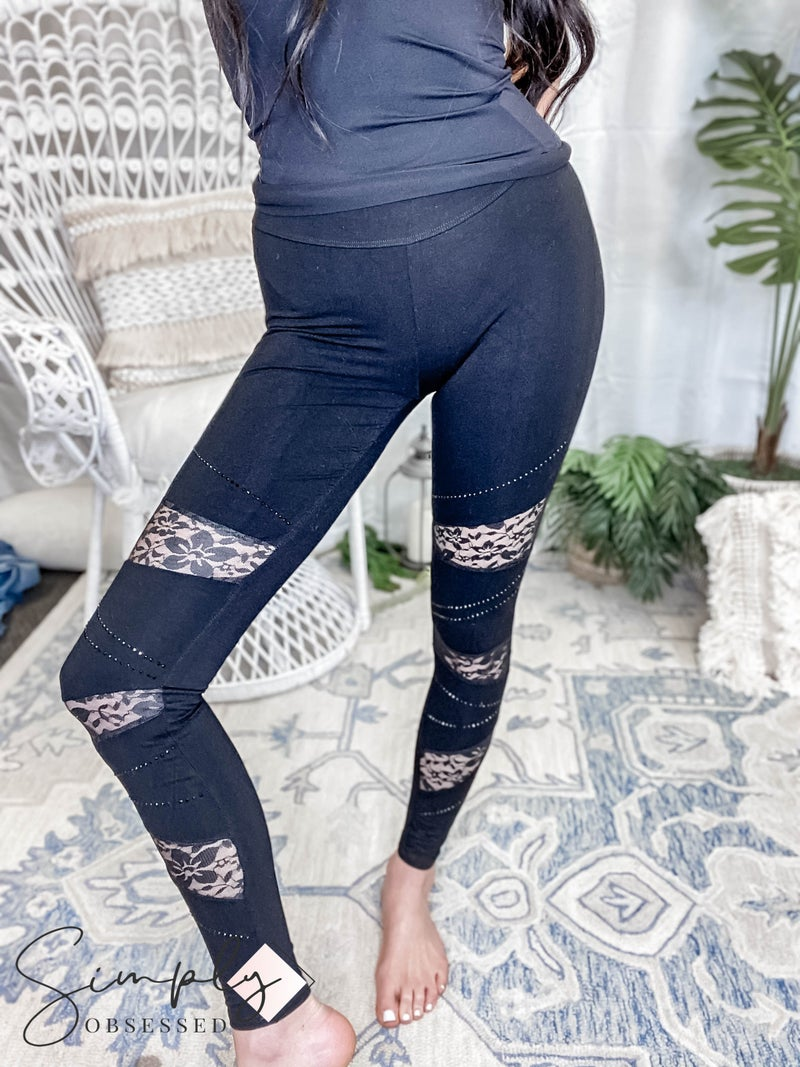 Vocal Apparel - Lace contrasted leggings with stone detail