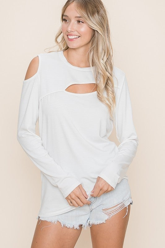 Vanilla Bay - Long sleeve knit top with cut out detail