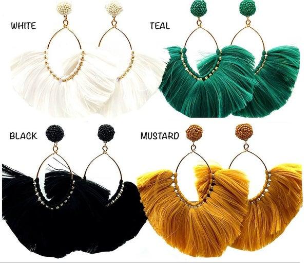 JRH - Beaded Stud Gold Hoop Fringe Earrings