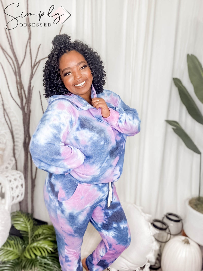 White Birch - Tie Dye Soft Knit Hoodie Two Piece Set