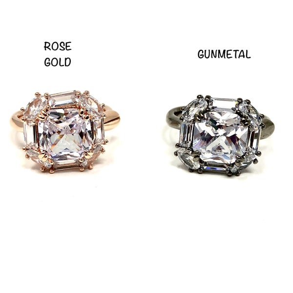 Adjustable Baguette Halo Ring with CZ