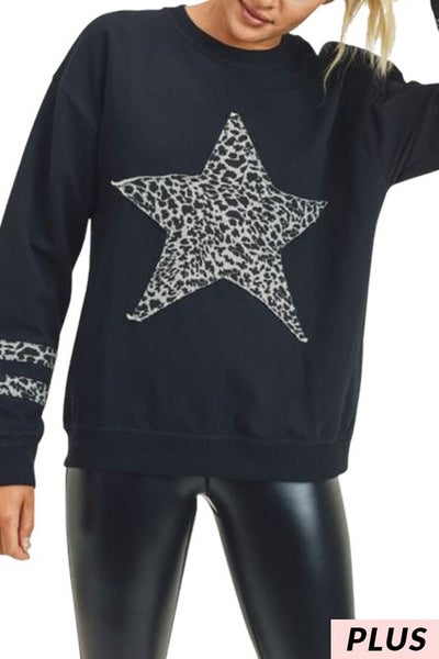 Mono B - Cheetah print star pullover sweater (all sizes)