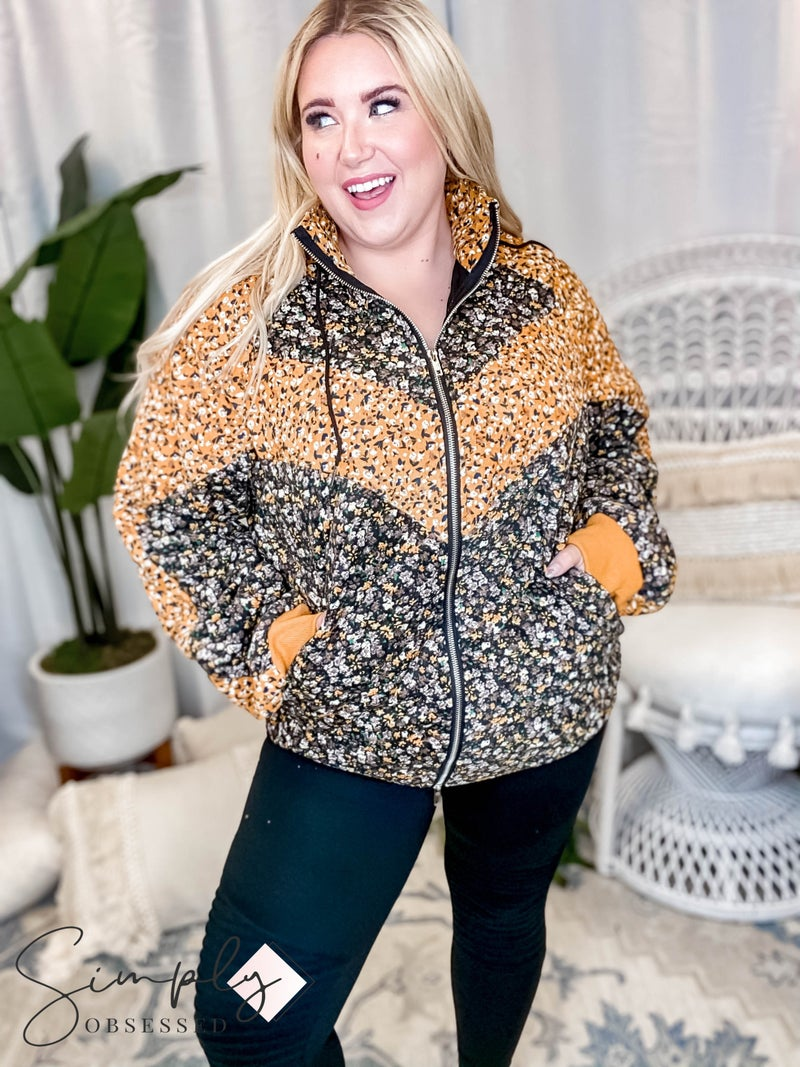 White Birch - Long sleeve floral print puffer jacket(All Sizes)