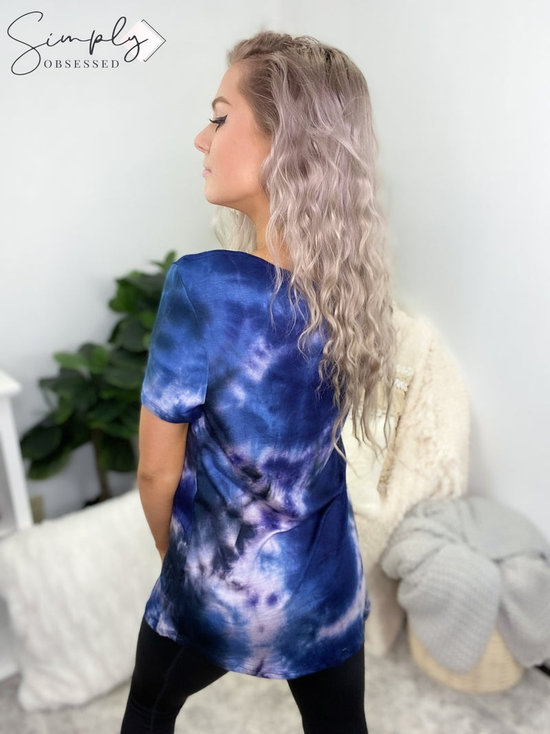 White Birch - Short sleeve loose fit tie dye top w/ cutout feature
