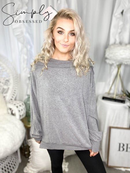 Easel - Long sleeve soft brushed hacci ribbed top