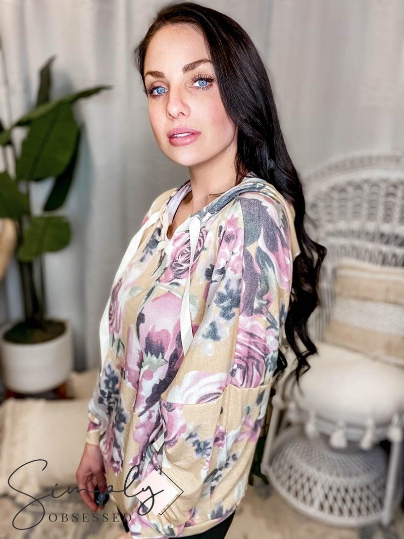 Sew In Love - Long Sleeve Floral Hoodie Top