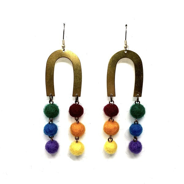 Emerge Large Brass Rainbow with color balls