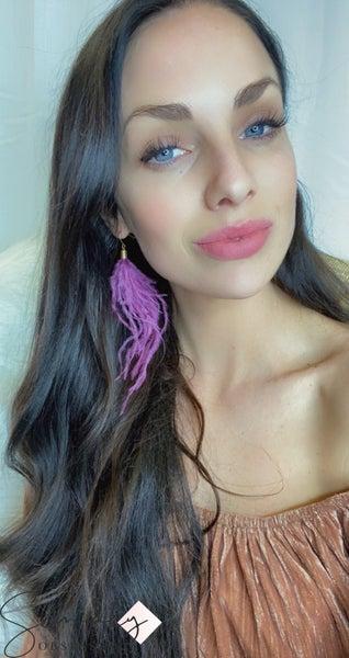 LAALEE - Purple Feathered Earrings