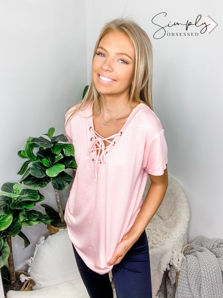 Bibi - French terry v neck top with lace up detail