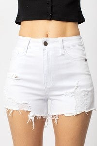 NATURE-WHITE HIGH RISE SHORTS WITH DISTRESSED DESIGN