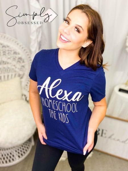 """Alexa Homeschool the Kids"" short sleeve graphic v-neck top (plus)"