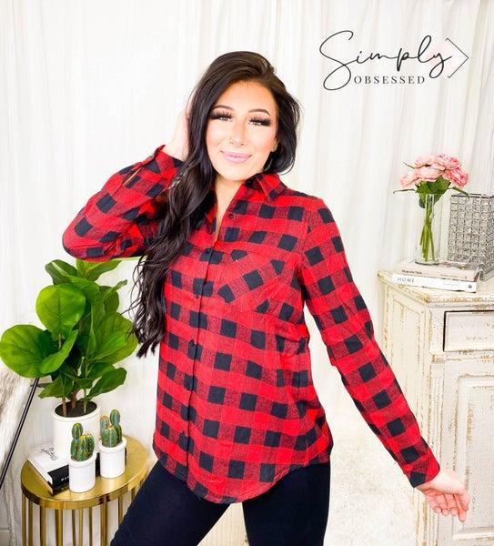 E Luna - Checker plaid fleece lined long sleeve button down flannel top