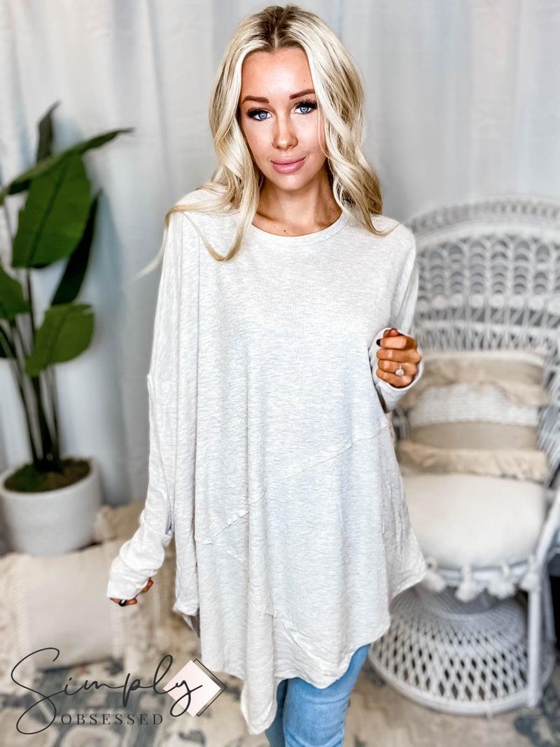First Dibs GeeGee LA - Asymmetric Hem Thermo Long Sleeve Fashion Top