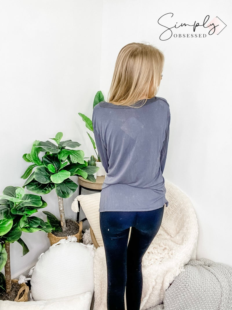 POL - Long sleeve knit top with raw seam (plus)