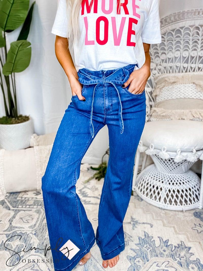 Flying Tomato - Bell bottom with tie around waist detail denim jeans