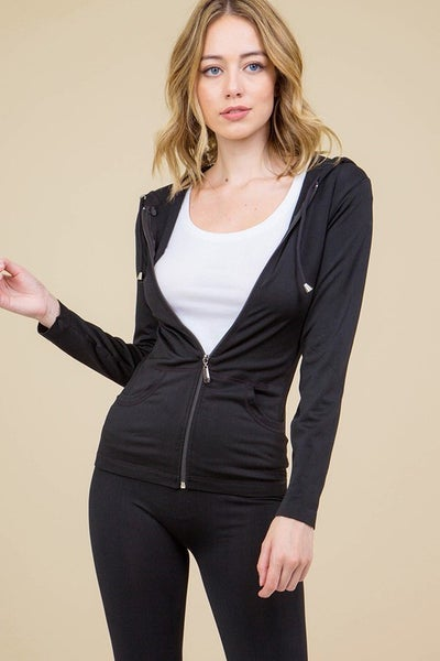 Many Many - Plain Simple Solid High Waist Leggings With Zip Up Hoodie Jacket
