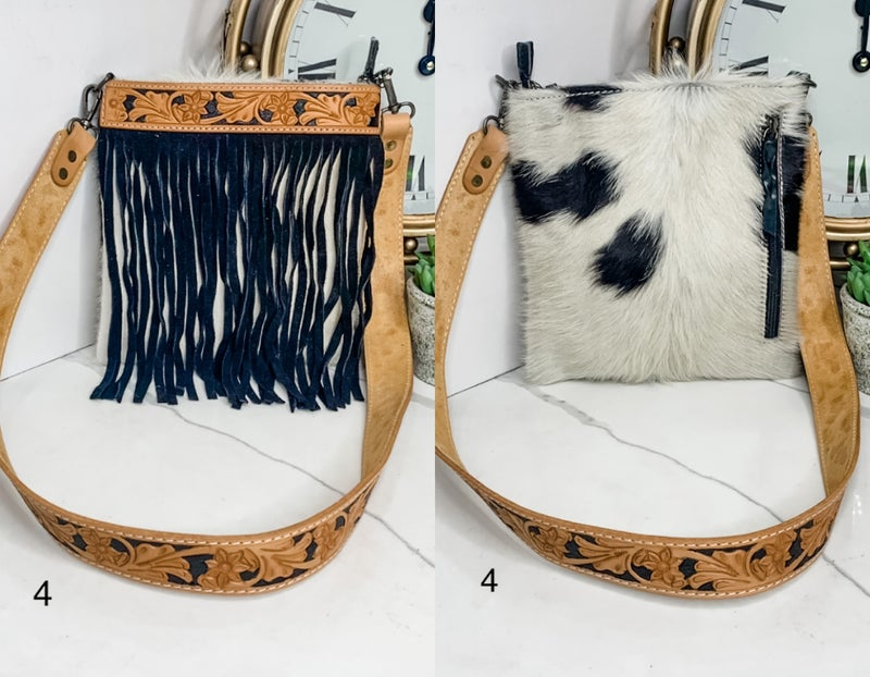 AMERICAN DARLING-MEDIUM PURSE WITH LEATHER WORK AND FRINGE DETAIL