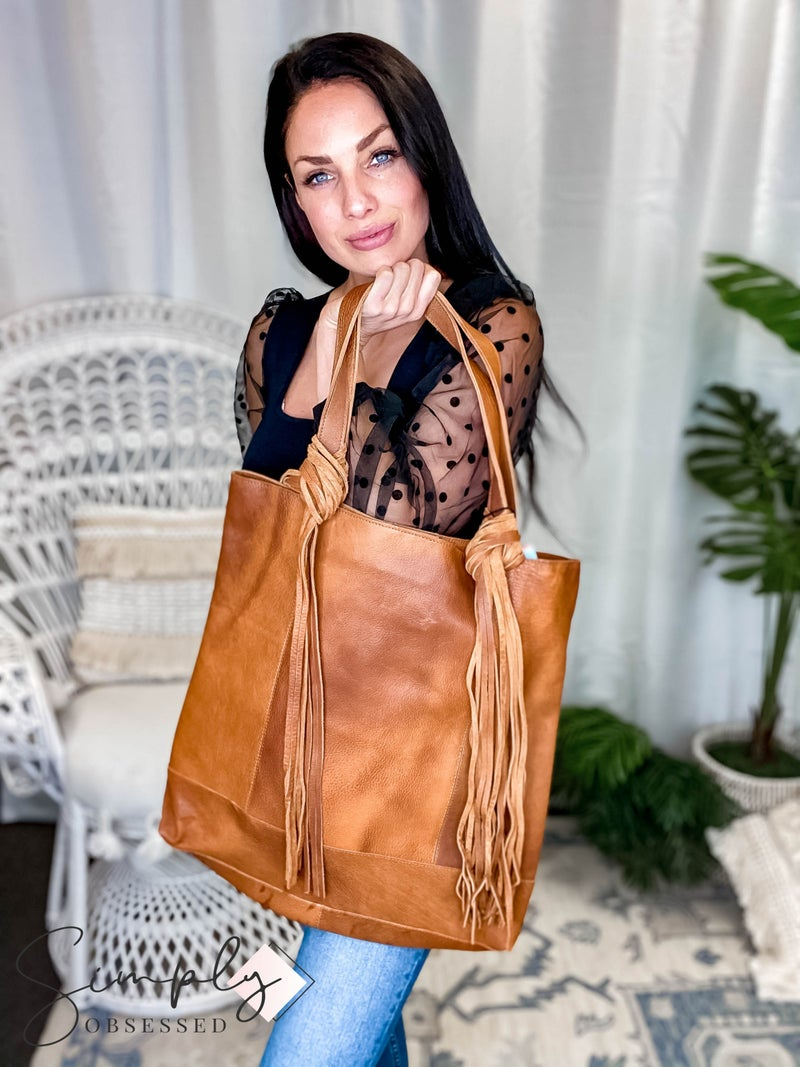 American Darling - Hand Painted Leather Tote Bag w/Fringe