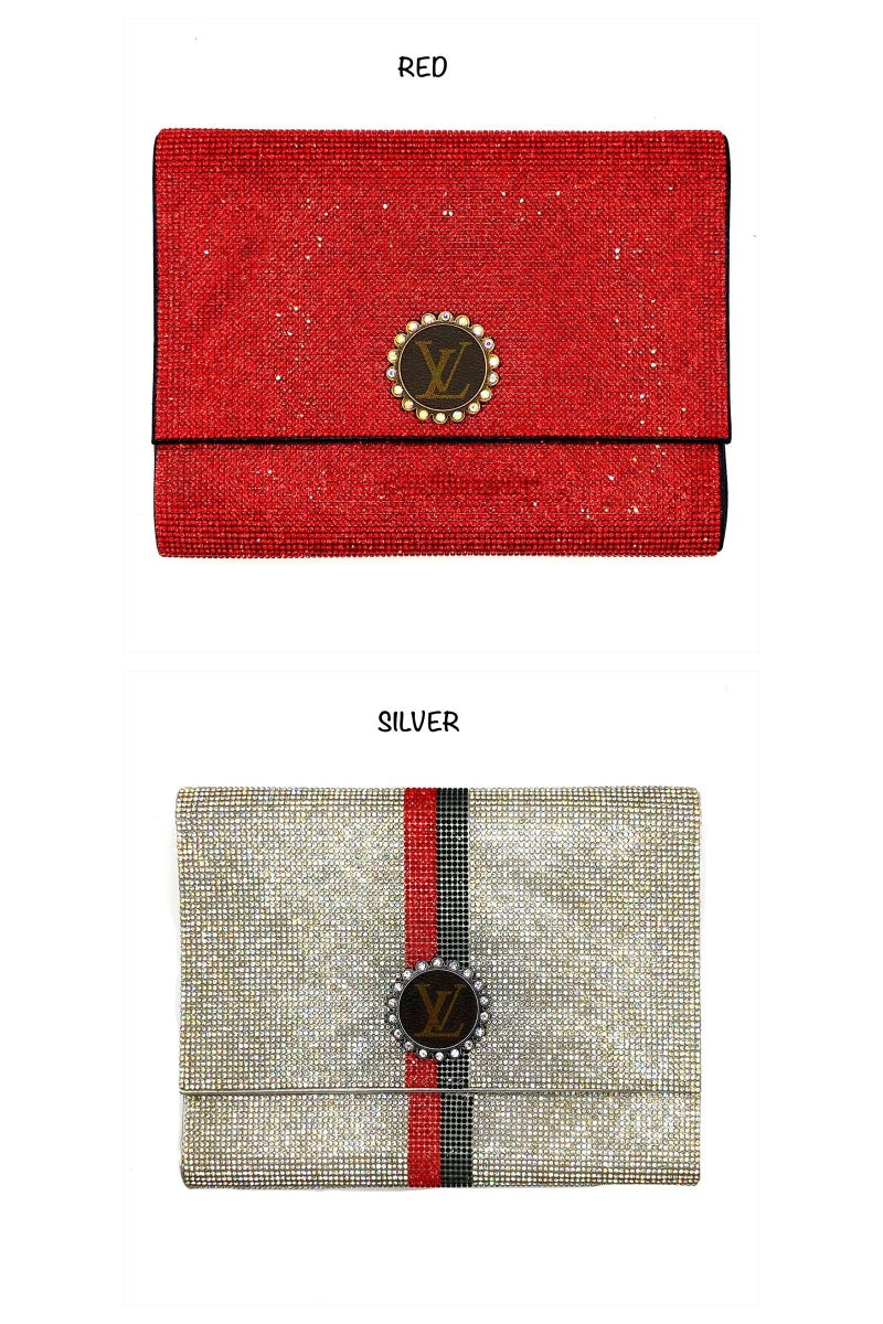 LV Up-Cycled Flat Bling Clutch