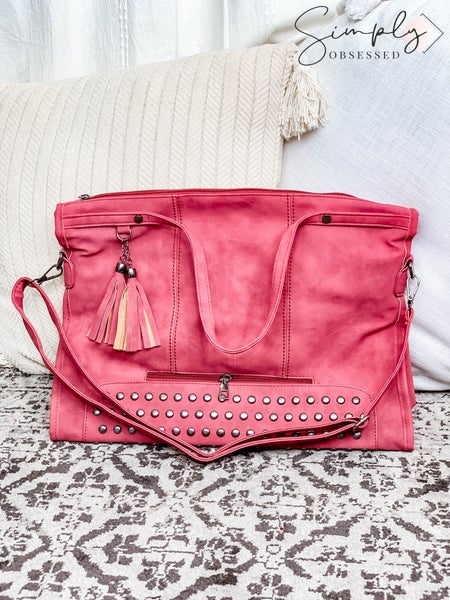 Julia Rose - Hobo handbag with rivet tassel and stud details