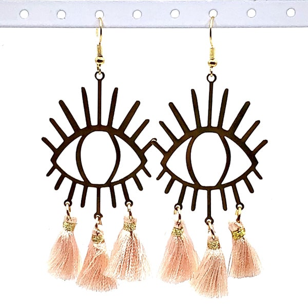 Eye Love Pink + Gold Earrings