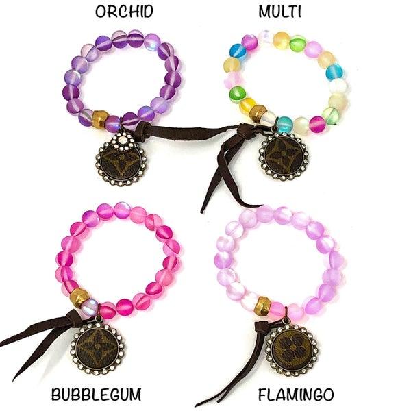 LV Up-Cycled Pastel Beaded Bracelets