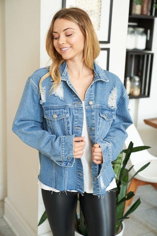 White Birch - Distressed denim jacket(All Sizes)