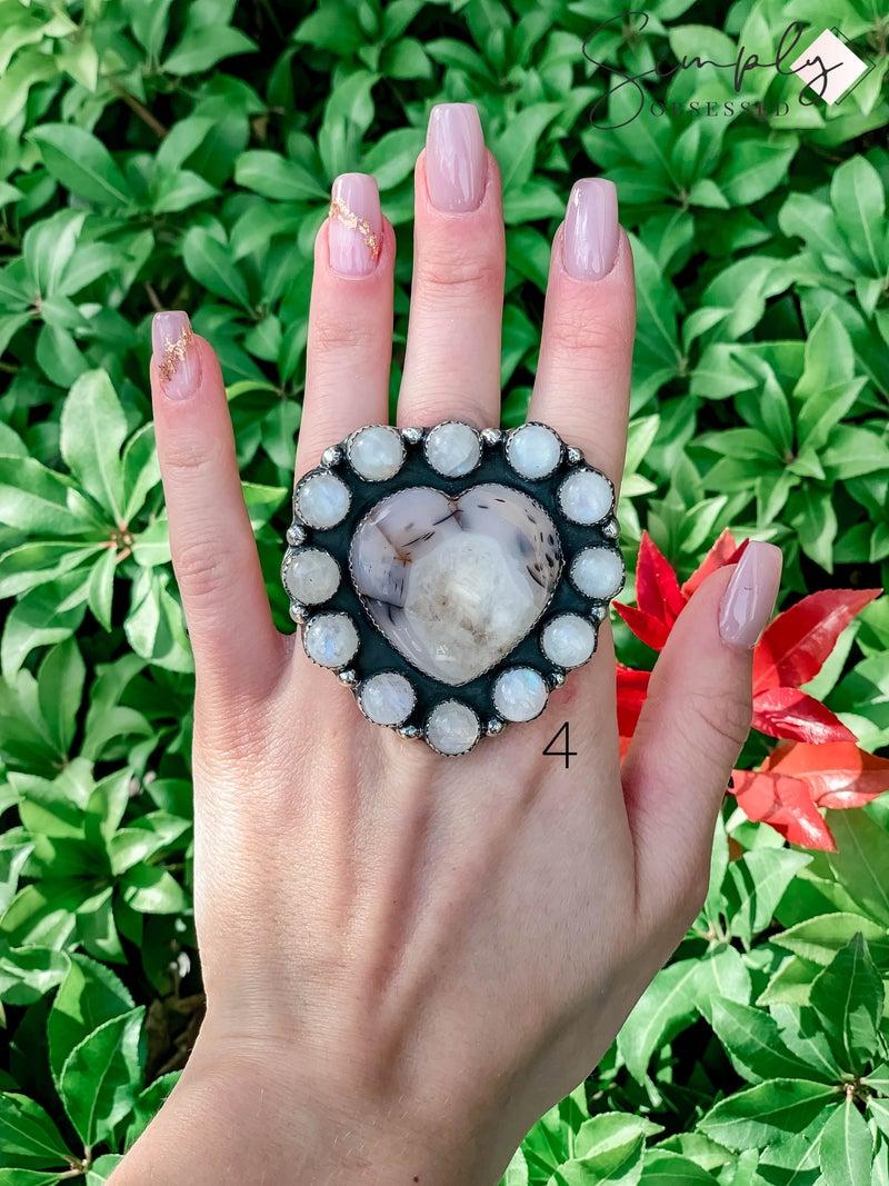 M & S - Montana Agate Heart w/ Moonstone Ring