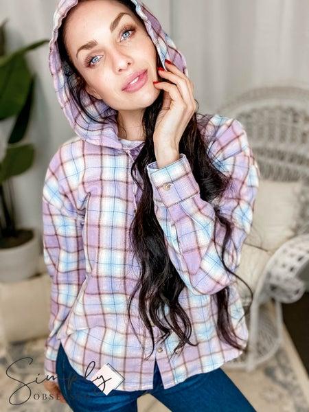 Hem & Thread - Plaid Hoodie Button Down Deep Dye Shirt