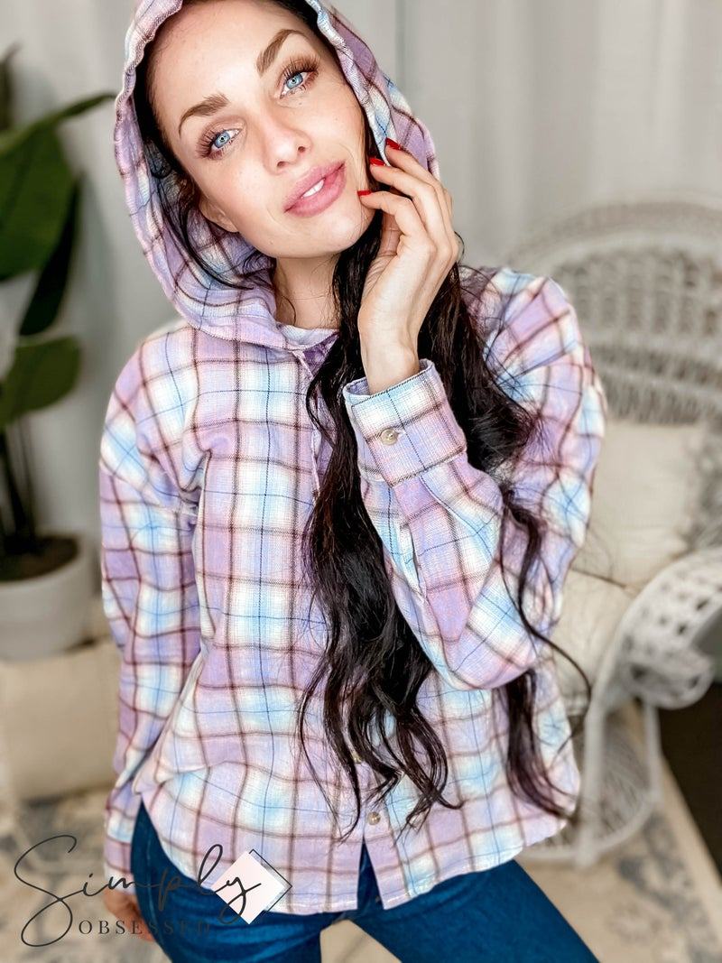 Hem & Thread - Plaid Hoodie Button Down Deep Dye Shirt
