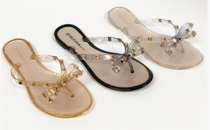 Womens jelly glitter stud bow sandals