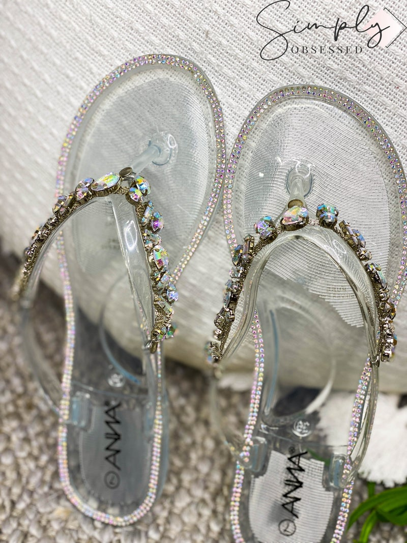 Anna - Sandals with jewel strap detail